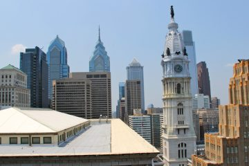 City Hall and the Center City skyline looking west from the roof of 1234 Market St. (Emma Lee/WHYY)