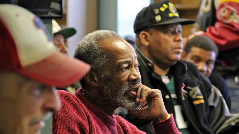Veterans listen to live jazz music at the Philadelphia Veterans Center in this NewsWorks file photo (Emma Lee/WHYY)