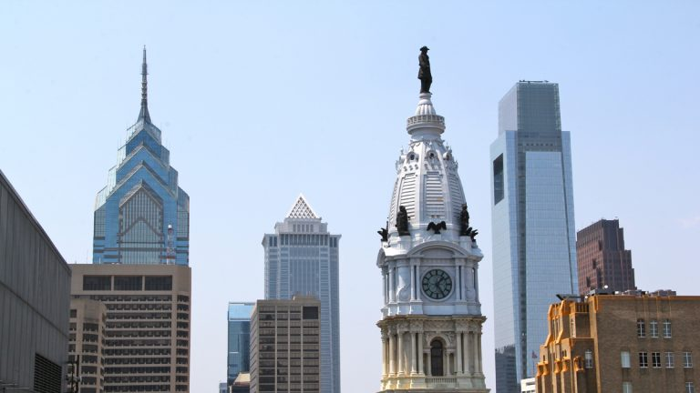 City Hall and the Center City skyline looking west from the roof of 1234 Market Street. (Emma Lee/WHYY)