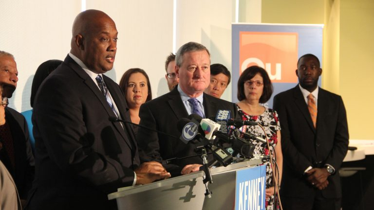 Mayor-elect Jim Kenney introduces his transition team which includes Pennsylvania Rep. Dwight Evans. (Emma Lee/WHYY)