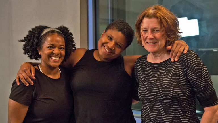 (From left) Radio Times producer Trenae Nuri; author and yogi Jessamyn Stanley; and Radio Times host Marty Moss-Coane pose for a photo at WHYY in Philadelphia (Kimberly Paynter/WHYY)