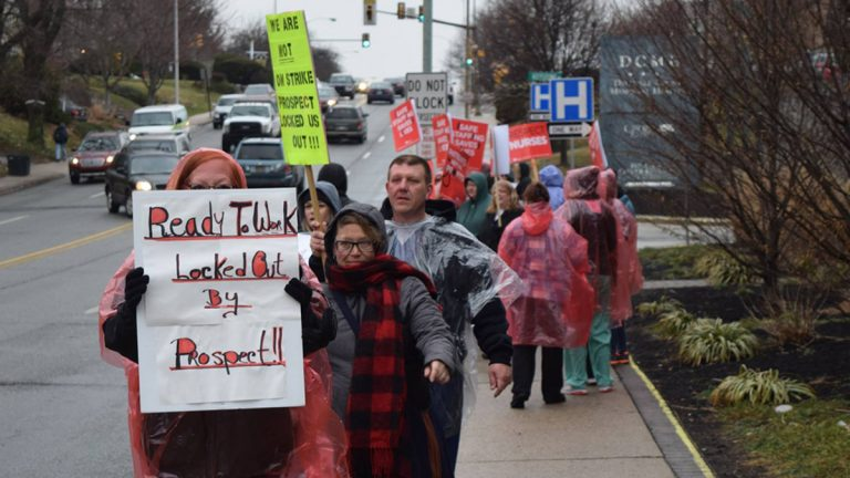 Nurses and technical staff at Delaware County Memorial Hospital protested during contract negotiations with the hospital's new owners, Prospect Medical Holdings, in March. (PASNAP via Facebook)
