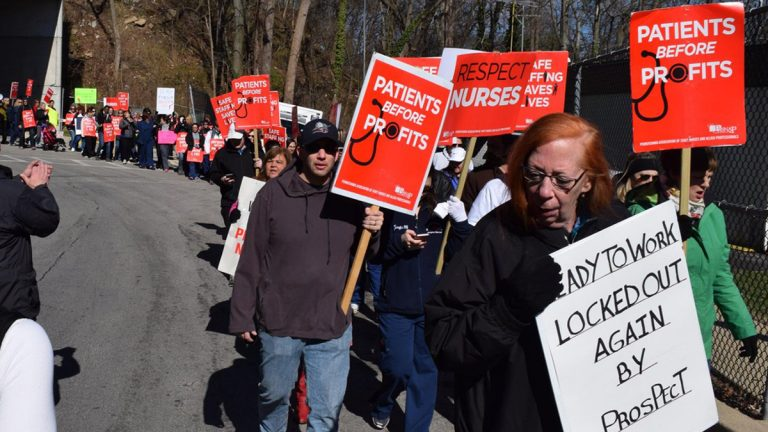 Members of the Pennsylvania Association of Staff Nurses and Allied Professionals  rally during contract negotiations in March. (PASNAP)
