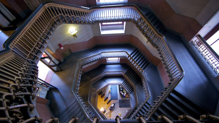 A view from the top of the  winding stairs in Philadelphia's City Hall (Nathaniel Hamilton/for NewsWorks)