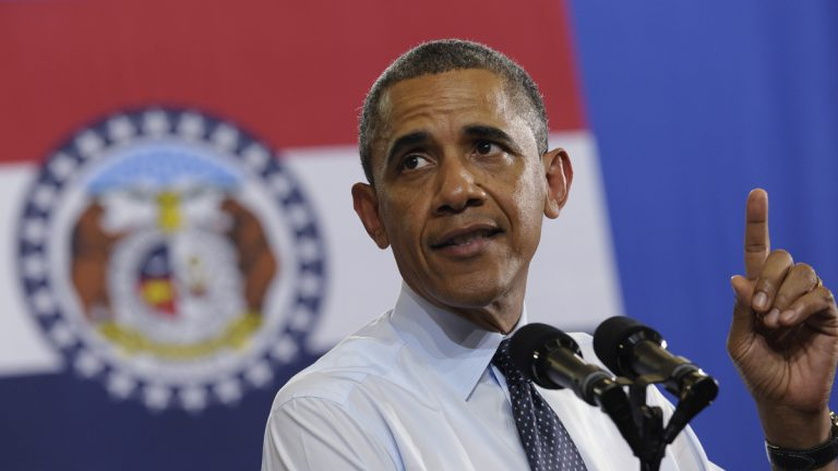 On the road to deliver a series of speeches laying out his vision for rebuilding the economy, President Barack Obama speaks at the University of Central Missouri on Wednesday. (AP Photo/Susan Walsh)