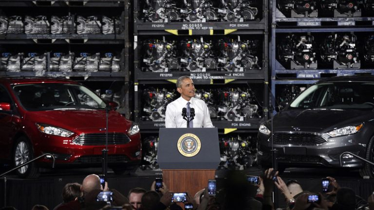 President Barack Obama is shown speaking Ford's Michigan Assembly Plant in Wayne, Mich. Obama touted steps taken by his administration that he said have brought the economy and U.S. manufacturing roaring back to life. (AP Photo/Paul Sancya)