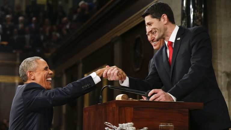 President Barack Obama shakes hands with Speaker Paul Ryan of Wisconsin before the State of the Union address before a joint session of Congress on Capitol Hill in Washington, Tuesday, Jan. 12, 2016. (AP Photo/Evan Vucci, Pool)