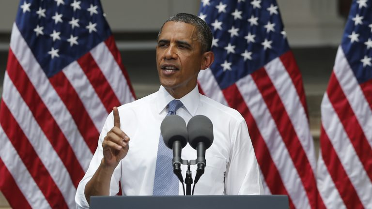 President Barack Obama, shown here speaking on climate change at Georgetown University on Tuesday, expressed disappointment at the U.S. Supreme Court's decision to invalidate the