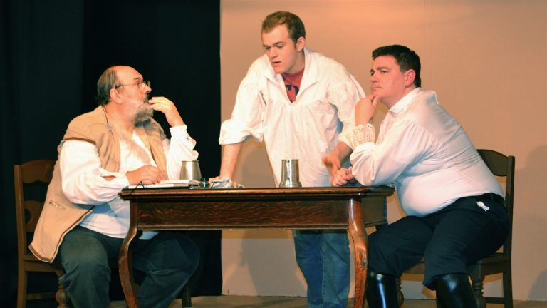 """From left: Randy Shupp, Jonathan Walsh and Chris Wunder star in a scene from """"The Signal,"""" one of seven shows being presented at the Old Academy Players' Summer One-Act Bonanza 2013. (Joel B. Frady/for NewsWorks)"""