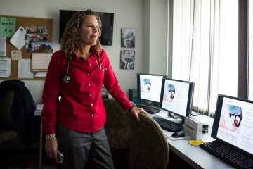 Dr. Cunningham poses for a portrait in her office at the Montefiore Comprehensive Care Center in the Bronx. (Edwin Torres/GroundTruth)