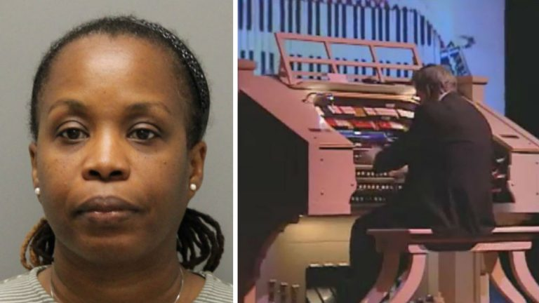 Patricia Nicholas-Lundy is charged with felony theft from the Dickinson Theatre Organ Society where she worked as treasurer. (left photo courtesy Del. State Police; organ photo: File/WHYY)