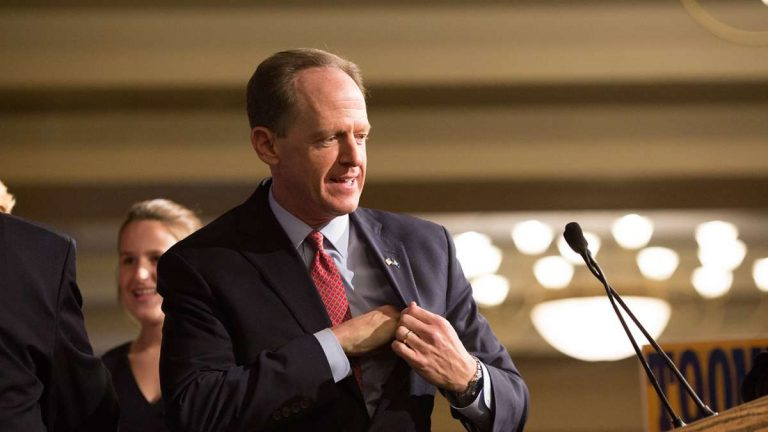 U.S. Senator Pat Toomey beat out Democratic challenger Katie McGinty in what was the most expensive Senate race ever. (Lindsay Lazarski/WHYY)