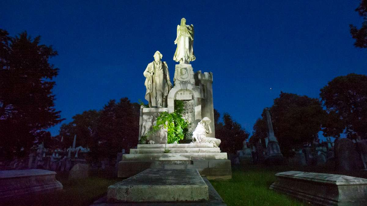 Photographed with painted light is the ornate monument of William James Mullen, a noted 19th century philanthropist and prison reformer.