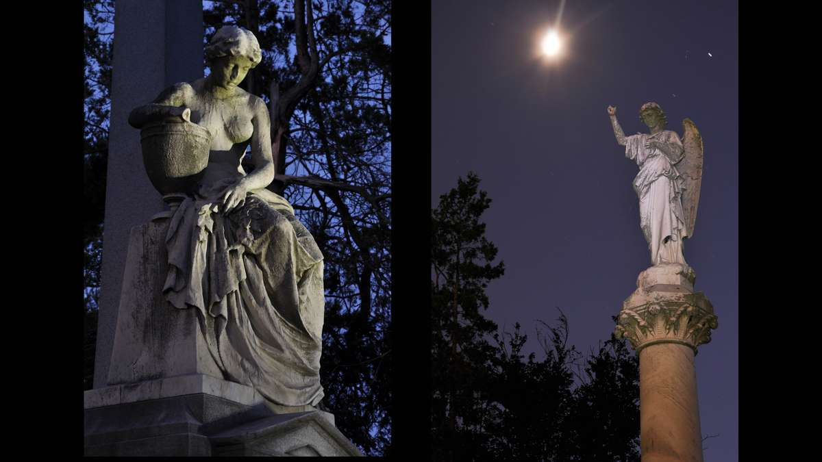 Illuminated by painted light are the monuments of the Civil War General Francis E. Patterson (left) and the Clothier Family, right.