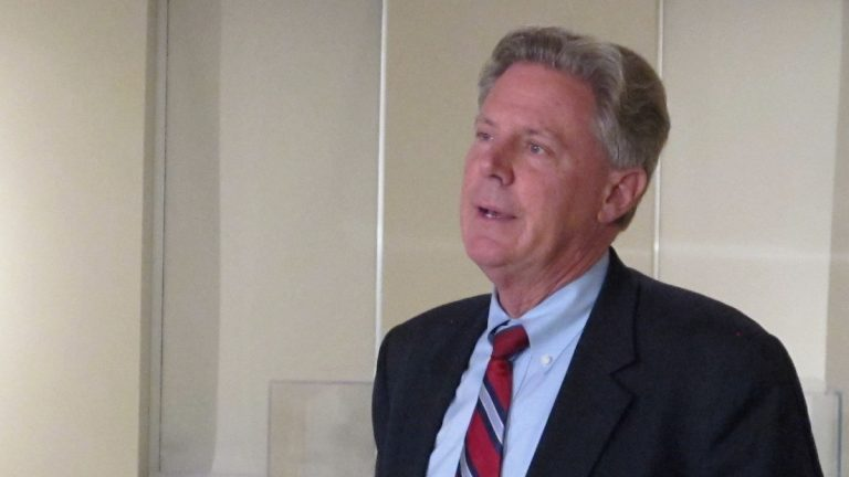 Congressman Frank Pallone talks with reporters at the NJ Division of Elections office in Trenton before filing his petitions to be a candidate in the August Senate primary. (Phil Gregory/for NewsWorks)