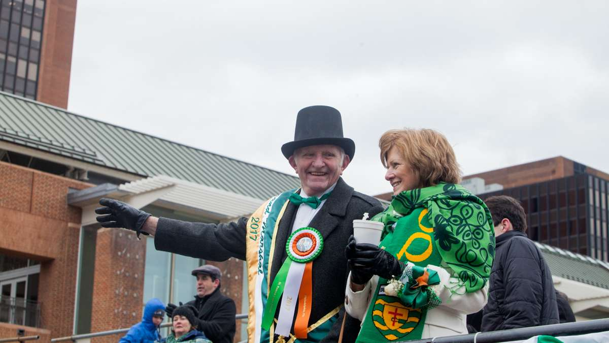 Grand Marshal Barney Boyce waves to the crowd during the 2017 Saint Patrick's Day Parade in Philadelphia.