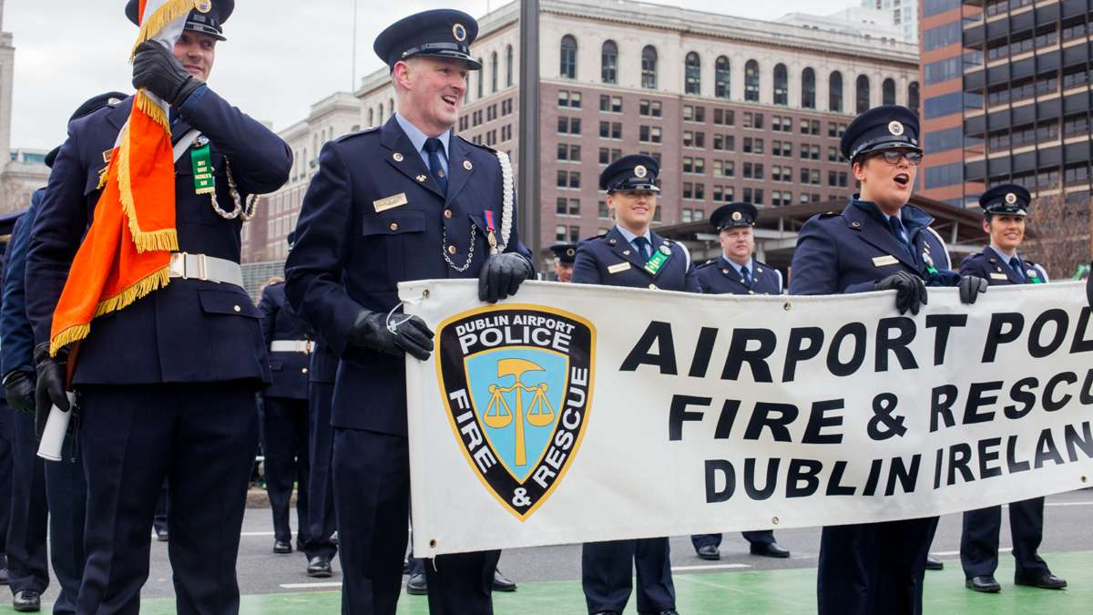 The Dublin Airport Police, Fire and Rescue color guard made the tirp from Ireland to march in the Saint Patrick's Day Parade Sunday.