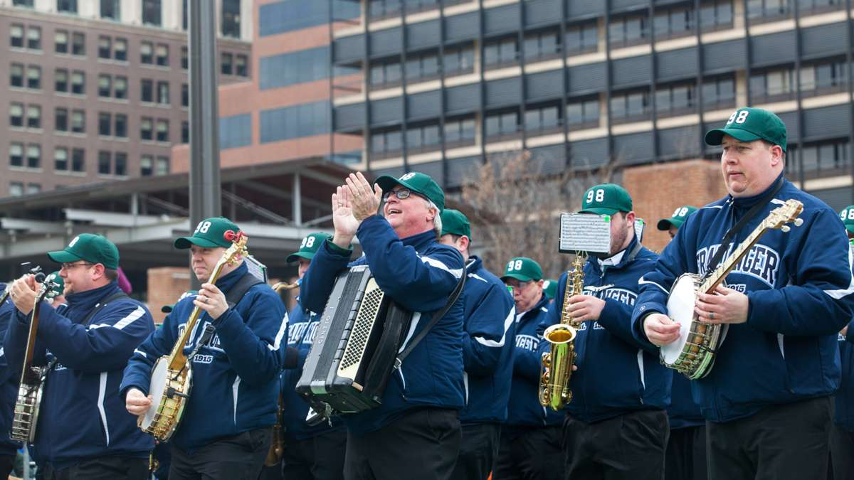The Fralinger String Band performs during the Saint Patricks Day Parade down Market Street Sunday.