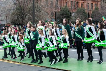 Students from the McHugh School of Irish Dance in Delaware County perform during the Saint Patrick's Day Parade.