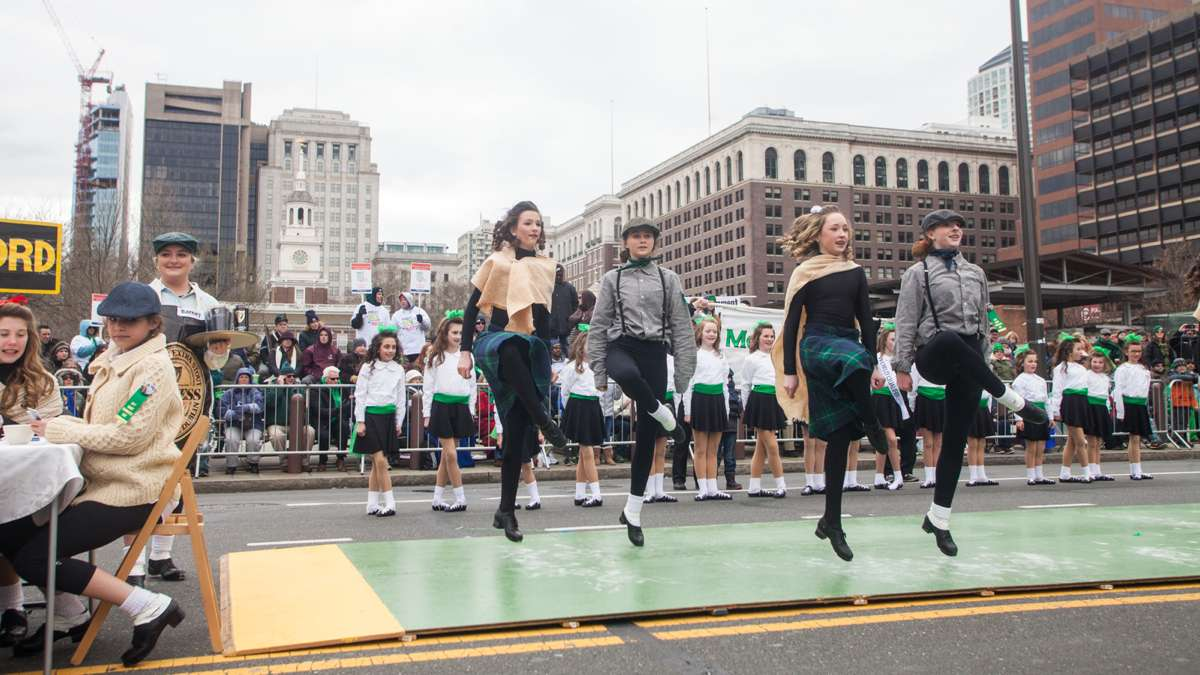 Students from McDade-Cara School of Irish Dance perform a skit during a dance routine at the 2017 Saint Patrick's Day Parade.