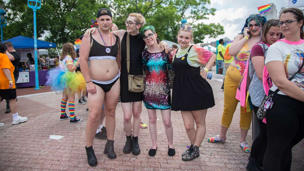 Friends from North Philadelphia, (from left) Jamie Zubernus, 20, Austin Bucci, 19, Cayla Smith, 20, and Christina Van Han, 19, participate in their first Pride parade and festival Sunday, June 18, 2017.