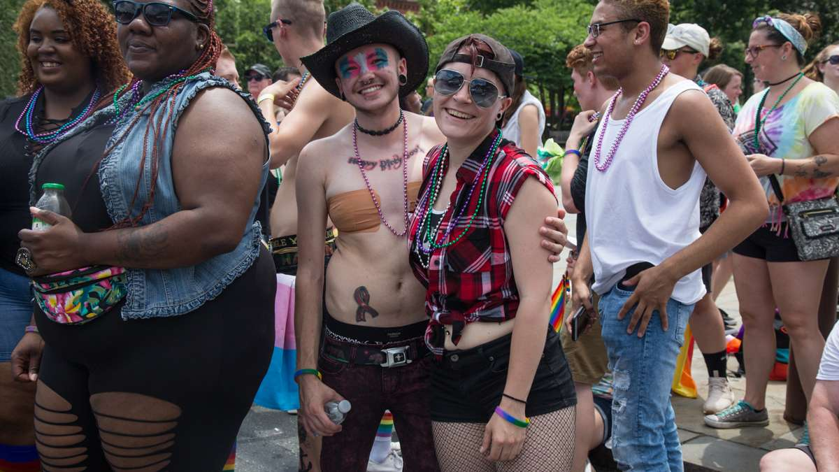 Ayden Revero, 22, and his girlfriend Crystal Hunt came from Bridgeport for the the 2017 Philadelphia Pride Parade, Sunday, June 18, 2017.