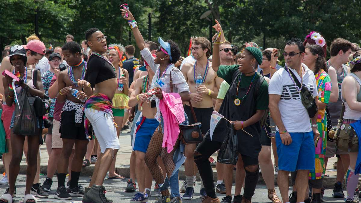 Revelers dance at the 2017 Philadelphia Pride Parade, Sunday, June 18, 2017.