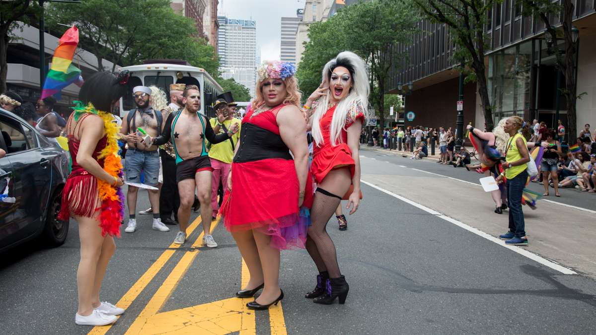 Areola Grande 22, and Onyx Ondyx, 23, (from left) march with Josh Schonewolf Presents at the 2017 Philadelphia Pride Parade, Sunday, June 18, 2017.