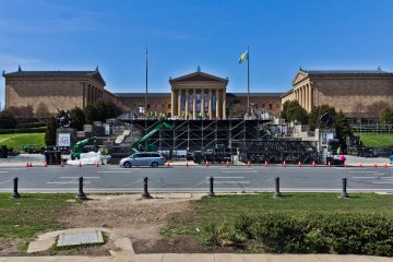 Construction on the Philadelphia Museum of Art began for the NFL Draft, April 27 to 29. (Kimberly Paynter/WHYY)