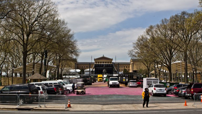 Eakins Oval on the Benjamin Franklin Parkway is being taken over for the NFL Draft, April 27 to 29. (Kimberly Paynter/WHYY)