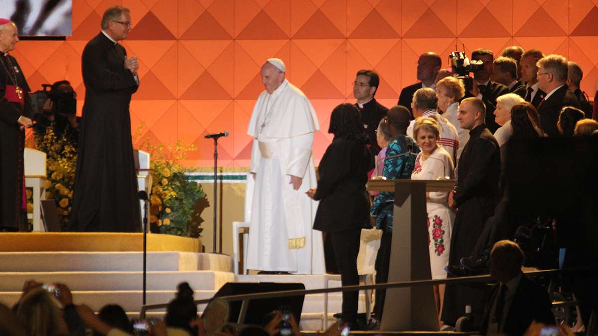 Festival of Families: Pope Francis takes the stage at the Festival of Families (Kimberly Paynter/WHYY)