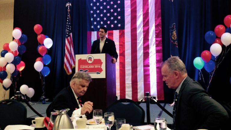 Paul Ryan is shown addressing the Pennsylvania delegation to the Republican National Convention on Monday morning. Seated at right is state House Speaker Mike Turzai. (Dave Davies/WHYY)