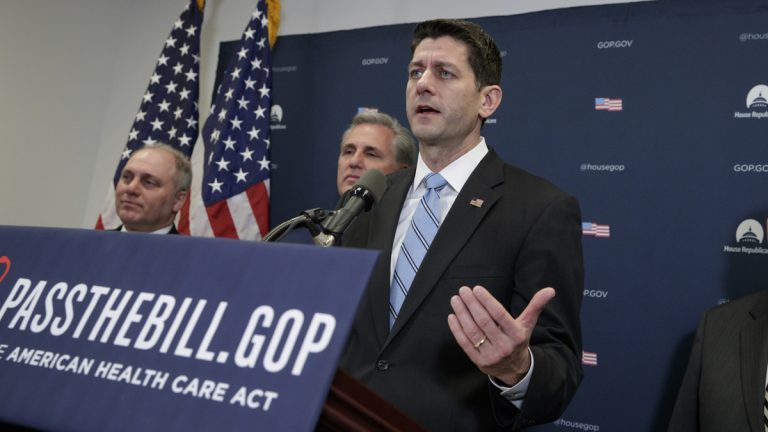 Speaker of the House Paul Ryan, R-Wis., talks to reporters after meeting with President Donald Trump who came to Capitol Hill to rally support among GOP lawmakers for the Republican health care overhaul, in Washington, Tuesday, March 21, 2017. (AP Photo/J. Scott Applewhite)