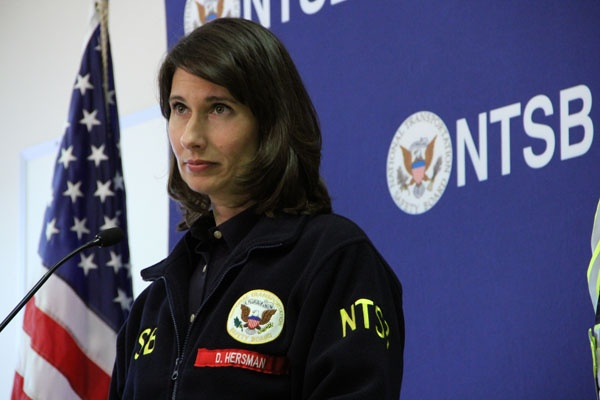 <p>National Transportation Safety Board chairman Deborah Hersman takes questions from the media about the train derailment that caused a hazardous chemical spill in Paulsboro. About 100 residents were forced to leave  their homes. (Emma Lee/for NewsWorks)</p>