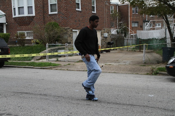 <p><p>Cauzell Harris of Youth Build Philly does a drill step. (Trenae V. McDuffie/for NewsWorks)</p></p>