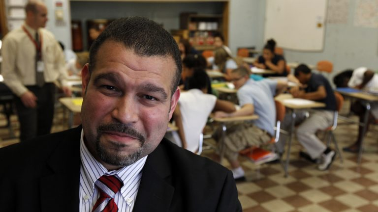 Superintendent Pedro Rivera poses for a photograph at Lincoln Middle School in Lancaster, Pa. (AP Photo/Alex Brandon)