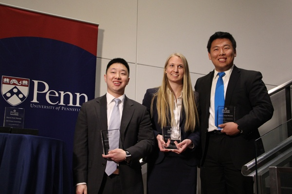 <p>The winners of the Y Prize competition (from left) Andy Wu, Kelsey Duncombe-Smith, and Richard Zhang, presented a plan to use flying robots to detect buried improvised explosive devices (IEDs). (Emma Lee/for NewsWorks)</p>