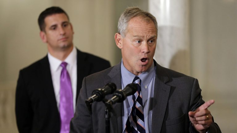 House Majority Leader Dave Reed (left) and House Speaker Mike Turzai said they believed that they could sell the framework to rank-and-file members, but found more opposition than they expected. (AP Photo/Matt Rourke, file)