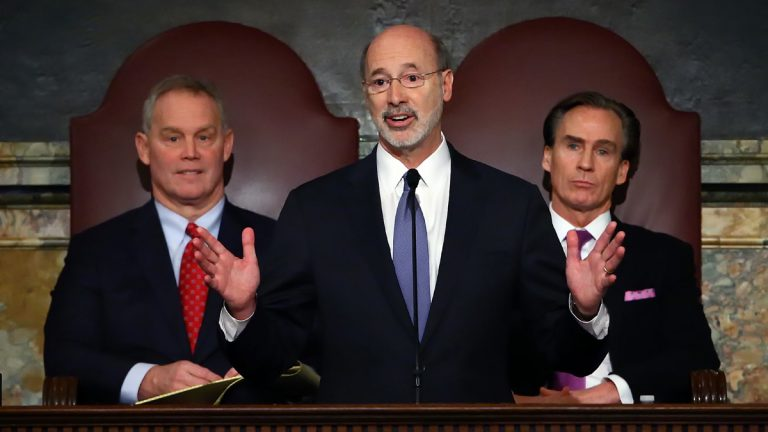Gov. Tom Wolf, center, delivers his budget address for the 2016-17 fiscal year to a joint session of the Pennsylvania House and Senate, as the Speaker of the House Mike Turzai, R-Allegheny, left, and Lt. Gov. Mike Stack, right, listen at the State Capitol in Harrisburg Tuesday. (AP Photo/Chris Knight)