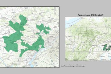 "Pennsylvania's infamous 7th U.S. Congressional District is said to look like ""Goofy kicking Donald Duck.""  (United States Department of the Interior)"