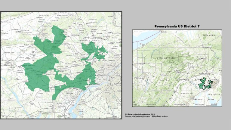 """Pennsylvania's infamous 7th U.S. Congressional District is said to look like """"Goofy kicking Donald Duck.""""  (United States Department of the Interior)"""