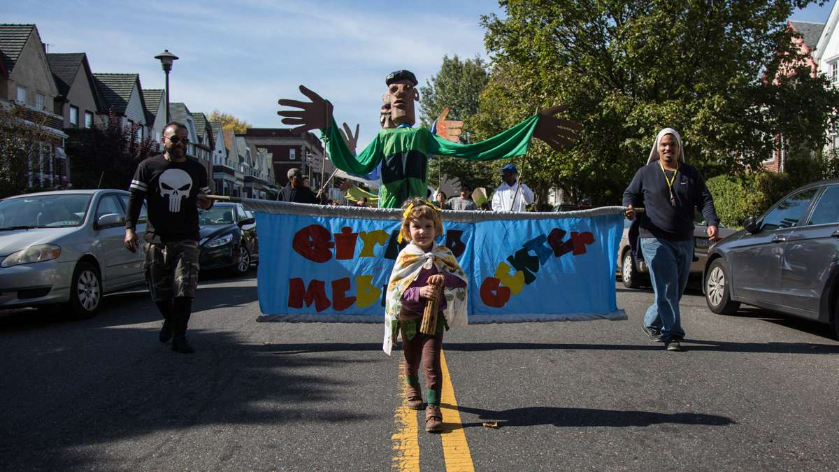 Beta Weissman, 4, marches with other members of her Philadelphia community at the 17th annual Peoplehood parade on Oct. 29, 2016.