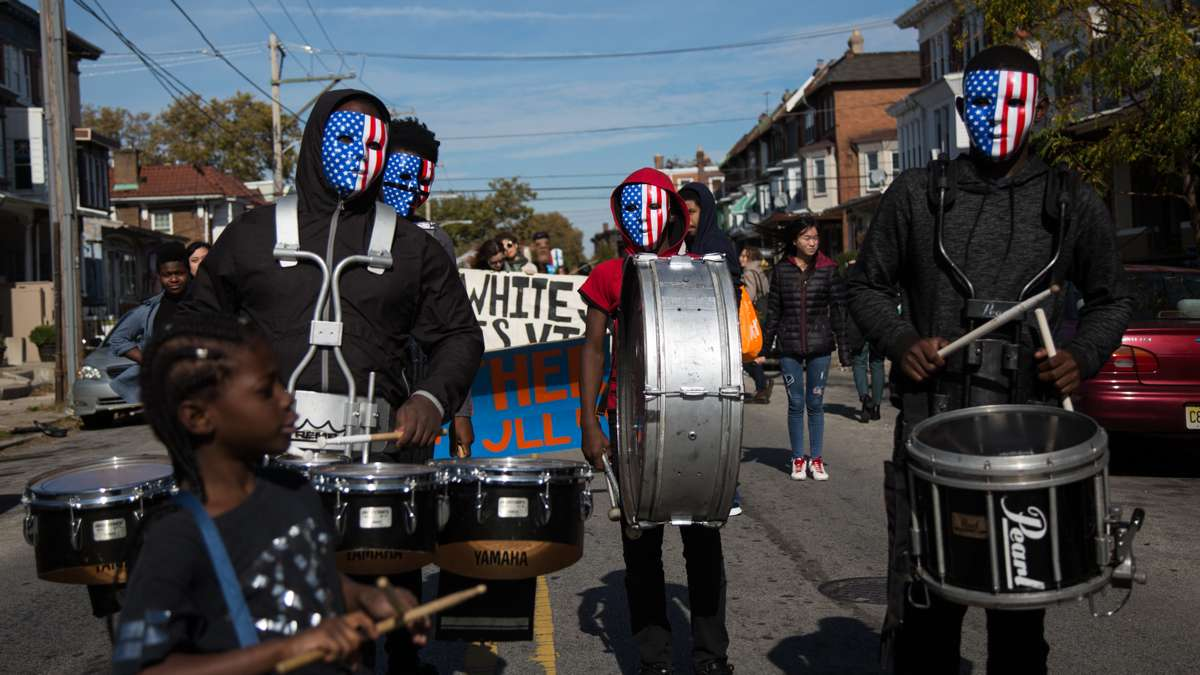 Young people from Extreme Creations in Southwest Philadelphia step into their drum line before the start of the 17th annual Peoplehood parade, October 29th 2016.