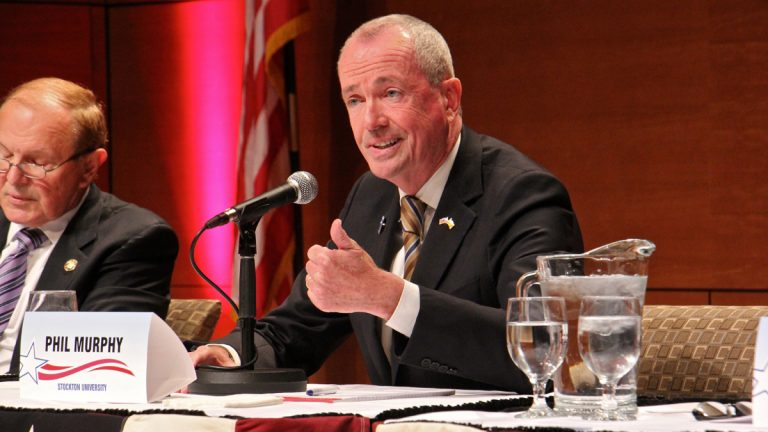 Democratic nominee for governor Phil Murphy makes a point during a debate at Stockton University in New Jersey. (Emma Lee/WHYY)