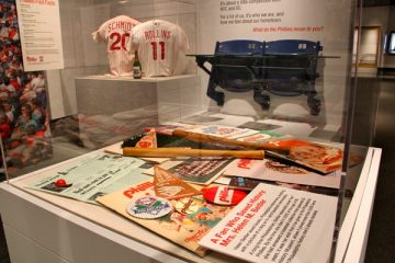 Commemorative  memorabilia from the 1980 Phillies World Series championship on display at the Philadelphia History Museum which will soon shut it's doors to the public (WHYY, file)