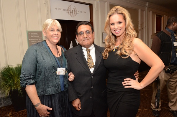 <p><p>Philadelphia Zoo president and CEO Vikram H. Dewan (center) with his wife Jamie Dewan and Maria Papadakis (Photo courtesy of HughE Dillon)</p></p>