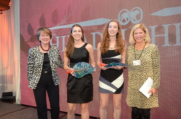 <p><p>Carole Haas Gravagno (left) and Caroline Rogers (right) with Girl Scouts, Rhiannon Tomitshen and Madison Vorva, recipients of the Emerging Conservation Leader Award (Photo courtesy of HughE Dillon)</p></p>