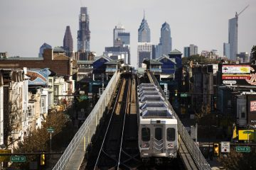 A train moves along the Market-Frankford Line. (Matt Rourke/AP Photo)
