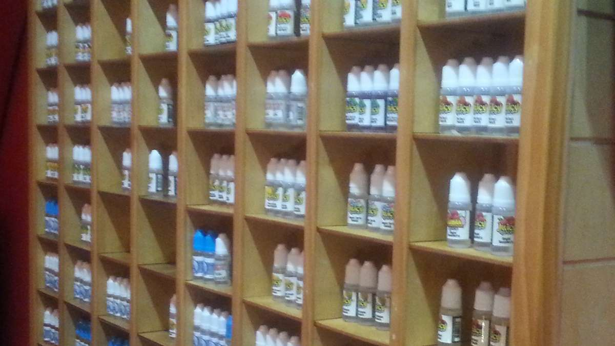 Some of the liquids or 'juice' on display at Love Vape contain nicotine, others claim they do not (Photo courtesy of Love Vape)