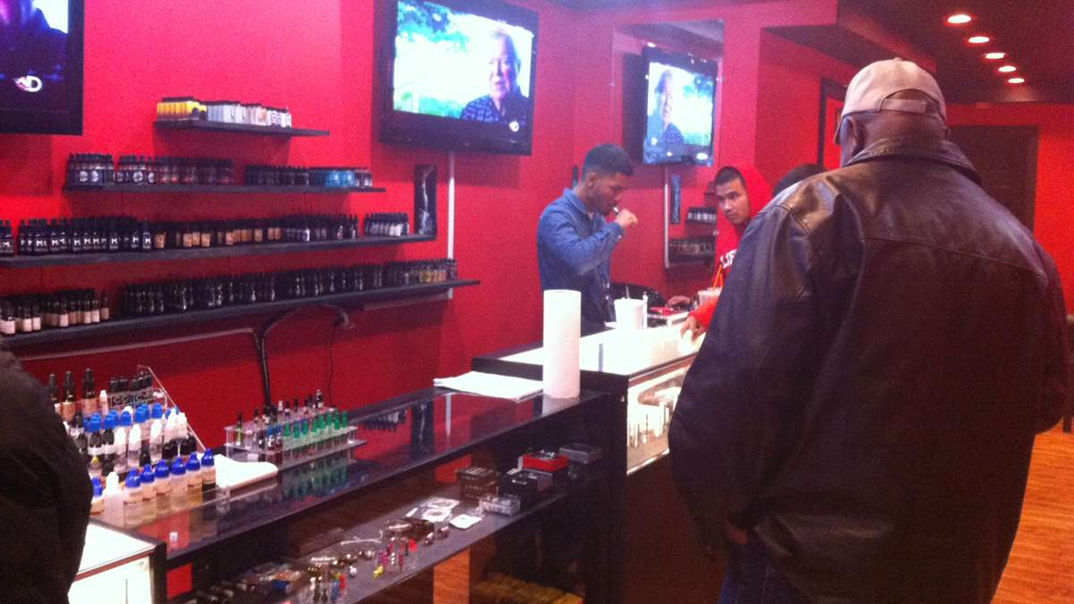 At Love Vape, e-cigarette smokers have a chance to connect with other members of the vaping community (Elizabeth Fiedler/WHYY)
